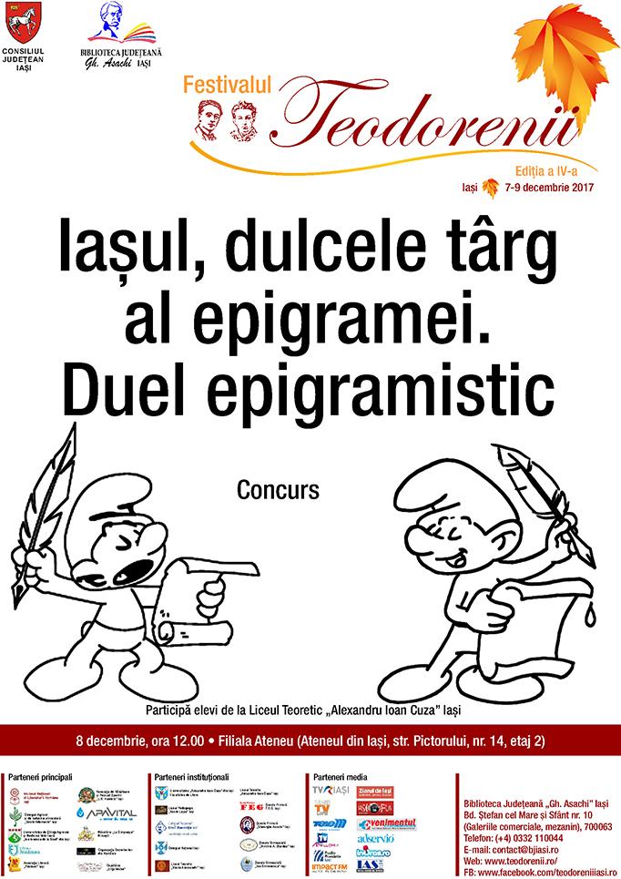 """""""Iașul, dulcele târg al epigramei. Duel epigramistic"""": concurs"""
